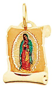 Top Gold & Diamond Jewelry 14K Yellow Gold Guadalupe Enamel Picture Religious Pendant