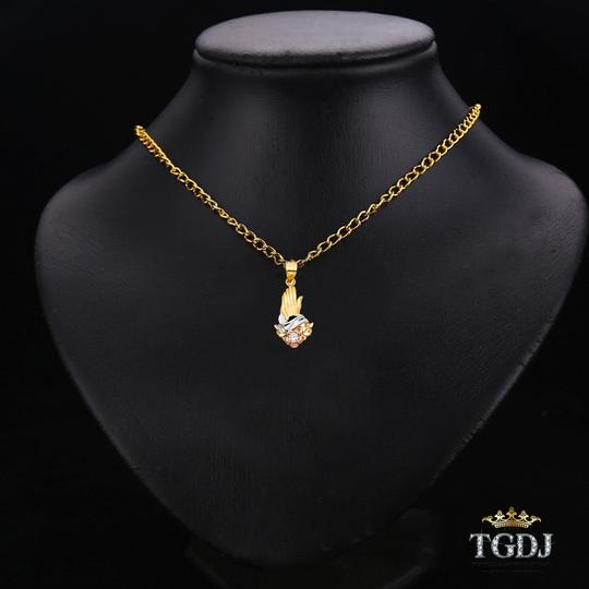 Top Gold & Diamond Jewelry 14K Tri Color Praying hands Religious Pendant