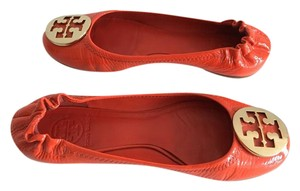 Tory Burch orange patent leather Flats