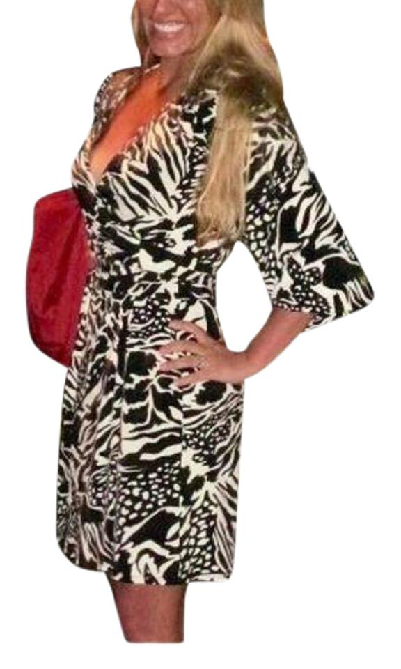 Laundry By Design Black And White Print Wrap Dress 74