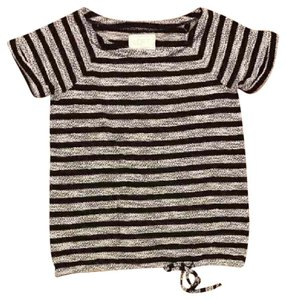 Ann Taylor LOFT T Shirt black and grey striped