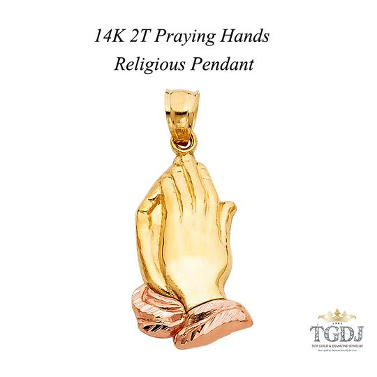 Top Gold & Diamond Jewelry 14K Two Tone Praying hands Religious Pendant