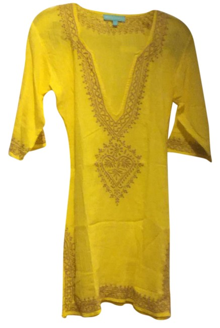 Item - Yellow Briony Embroidered Cotton Kaftan Tunic Cover-up/Sarong Size 4 (S)
