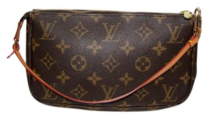Louis Vuitton Pochette Cosmetic Pouch Louis V Wristlet in brown