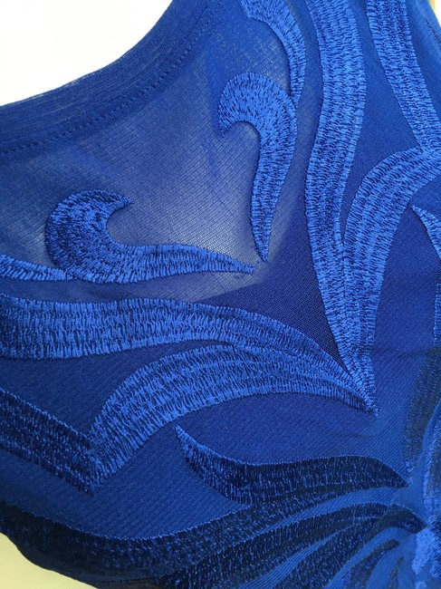 INC International Concepts Knit Polyester Embroidered Top royal blue