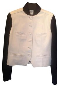Hermès WHITE LEATHER / BLACK KNITTED WOOL Leather Jacket