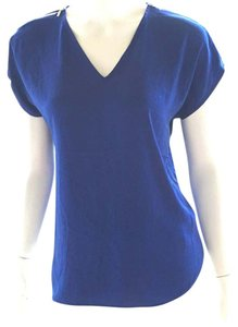 INC International Concepts Knit Polyester Cap Sleeve Short Sleeve V Neck Top royal blue