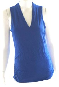 INC International Concepts Knit Polyester Short Sleeve V Neck Tank Top royal blue