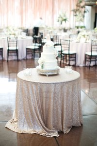 Champagne Sequin Tablecloth | Handmade Sequin Table Linens | Wedding