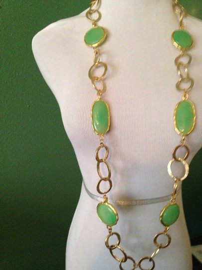 Kenneth Jay Lane Pastel Green Agate Gemstone Extra Long Gold Necklace