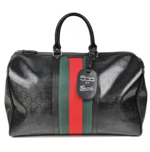 2b5828138be8 Gucci Duffle 500 By Carry On with Signature Web Detail Black Canvas  Weekend/Travel Bag