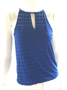 INC International Concepts Knit Tank Sleeveless Sheer Top royal blue