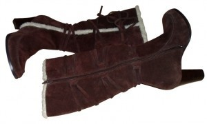 Aerosoles And Design Straps On One Side Zipper On Othe brown with winter white trim Boots