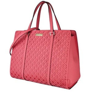 Kate Spade Strap Convertible Saffiano Leather Structured Flamingo Tote in Pink