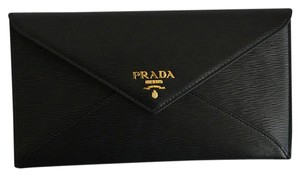 Prada Wallet Envelope Calfskin Textured Black Clutch