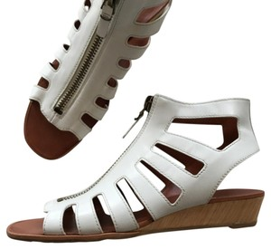 Via Spiga Leather Gladiator Zipper white Sandals