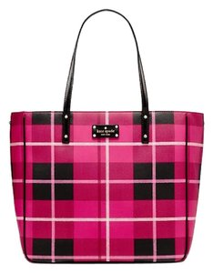 Kate Spade Red Black New With Tags Sidney Tote in Plaid