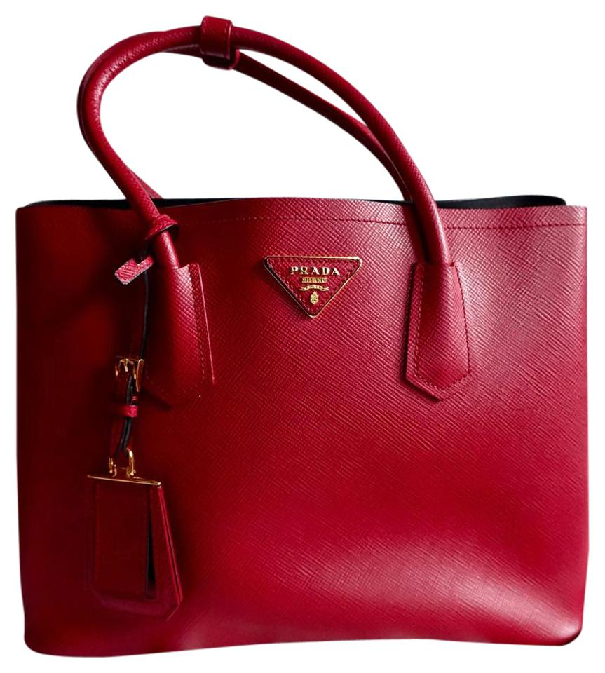 f236bc3b91c8 Prada Bag Double Saffiano Cuir In Fuoco / Red Leather Tote - Tradesy