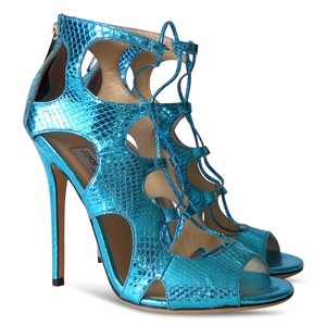 Jimmy Choo Snakeskin Leather Metallic Open Toe Blue Sandals