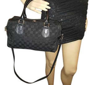 Gucci Doctor's Speedy/boston Gold Hardware Satchel in black small G logo print