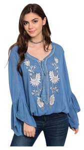 Other Embroidery Crochet Bohemian Women Lace Top Blue