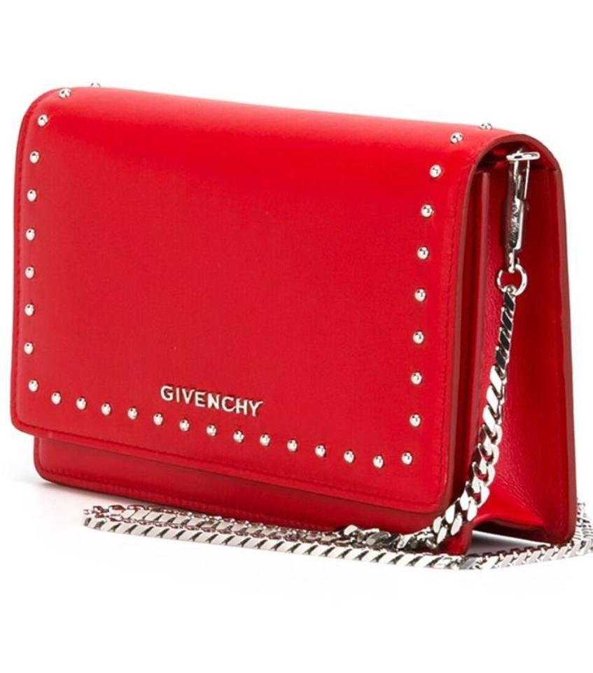Givenchy Pandora Chain Wallet Medium Red Leather Clutch - Tradesy d358eb8b683d3