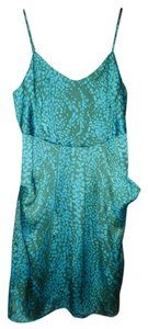 Collective Concepts short dress Teal Blue Silky Abstract Pockets Painterly on Tradesy
