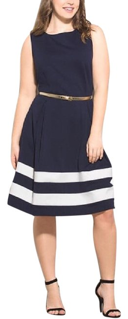 Preload https://img-static.tradesy.com/item/21045491/calvin-klein-navy-blue-and-cream-fit-flare-mid-length-cocktail-dress-size-14-l-0-1-650-650.jpg