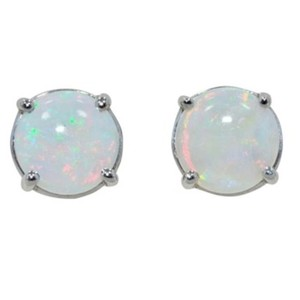 Other 14kt White gold Natural Opal Round Stud Earrings