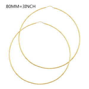 Top Gold & Diamond Jewelry 14K Yellow Gold Thickness Extra Large Endless Hoop Earrings 3 Inch