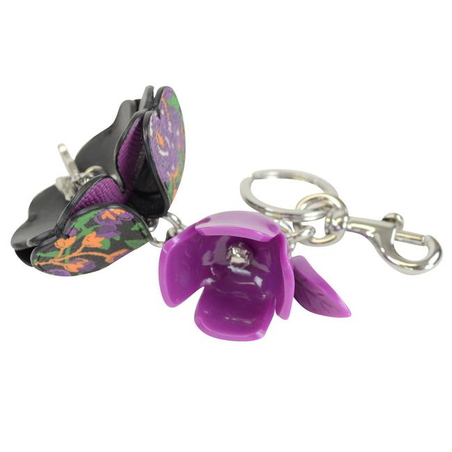 Item - Purple Rose Resin and Leather Purse Keychain Charm