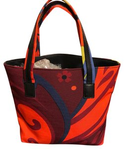 Gucci Tote in Orange, Maroon, Green, Blue Floral