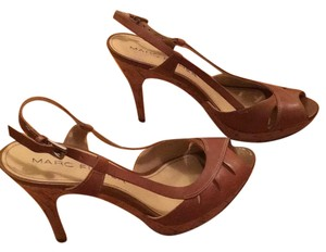 Marc Fisher Summer Peep Toe Slingback Cork Sandal Tan Pumps