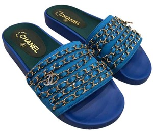 Chanel Logo Chain Slide Slides Soldout blue Sandals