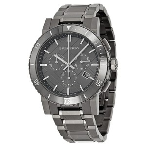 Burberry NWT MEN'S Chronograph Gray Ion Plated WATCH BU9381