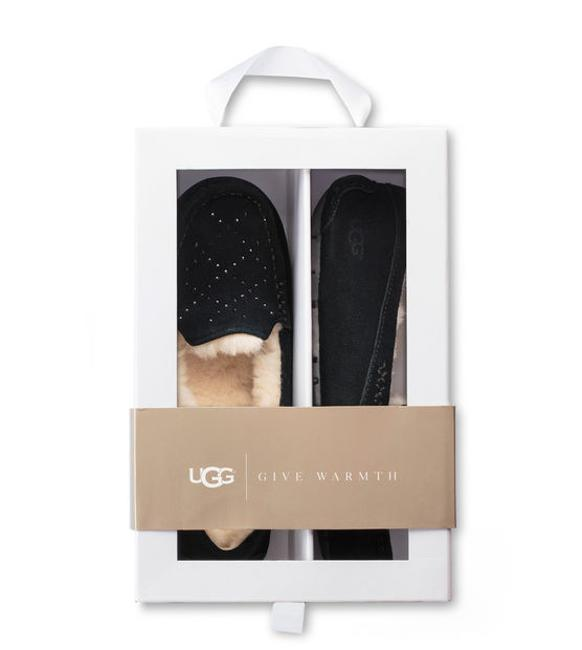Item - Black Ansley Crystal Diamond Suede Shearling Loafer Slipper Flats Size US 9 Regular (M, B)