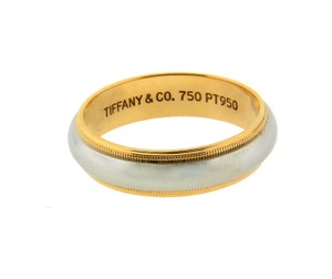 Tiffany & Co. Tiffany & Co Milgrain Band Ring In Platinum & 18k Yellow Gold Size 10.
