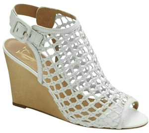 Vince Camuto Mesh Wedge Slingback White Boots