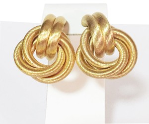 Givenchy vintage couture signed authentic givenchy gold tone woven braid tube clip earrings