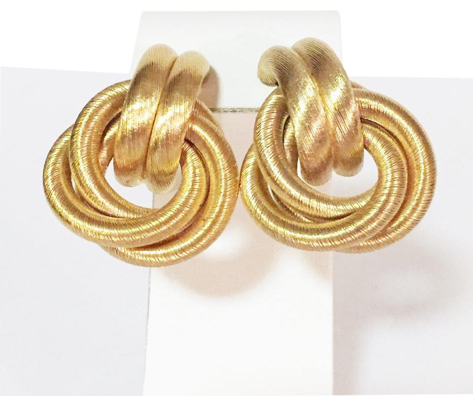 Givenchy Vintage Couture Signed Authentic Gold Tone Woven Braid Clip Earrings