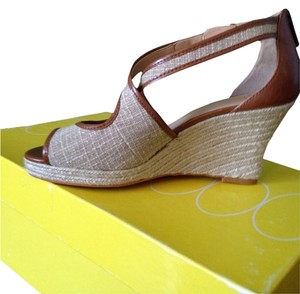 Joan & David Brown/Beige Wedges