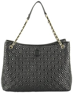 Tory Burch Large Quilted Chain Diamond Business Tote in Black