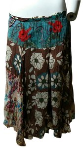 Johnny Was Maxi Skirt Teal, Brown, Red, Beige