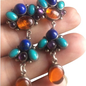 Other vintage Amber lapis Amethyst Turquoise Sterling silver drop dangle