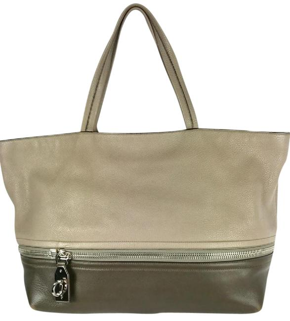 Item - Two-tone Expandable Taupe/Brown Leather Tote