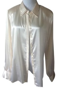 Karen Scott Button Down Shirt light cream