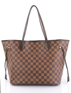 Louis Vuitton Neverfull Mm Damier Canvas Leather Neverfull Tote in Damier Ebene