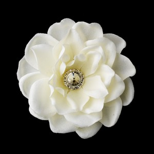 Elegance By Carbonneau Clip 433 Antique Medium Jeweled Gardenias In Ivory