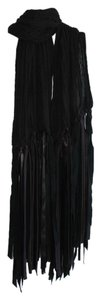By Malene Birger black scarf with satin fringe