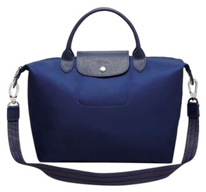 Longchamp Tote in Neon Blue Silver